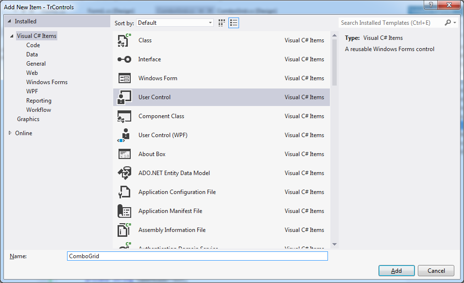 how to create user control in c winforms